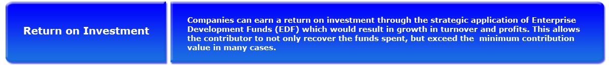 Return on Investment. Companies Can earn a return on investment through the strategic: application of Enterprise Development funds (EDF) which would result in growth in turnover and profits. This allows the contributor to not only recover the funds spent, but exceed the minimum contribution value in many cases.